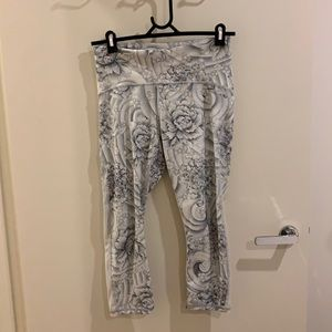 Lululemon yoga pants in white with floral design